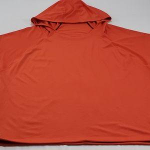 Athleta Orange Mesh Cut Sleeve Hooded Workout Top